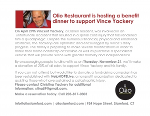 Benefit dinner for Vince Yackery!