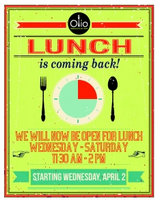 Lunch is Back at Olio!