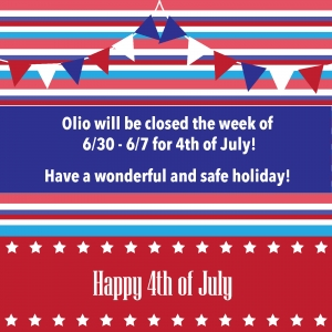 Olio will be closing from 6/30 - 7/7
