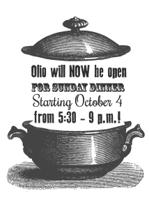 Sunday Dinner - Starting Oct 4th
