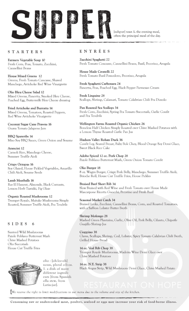 Olio Restaurant - Supper Menu - Hope Street Stamford Connecticut - 203.817.0303 - www.oliostamford.com